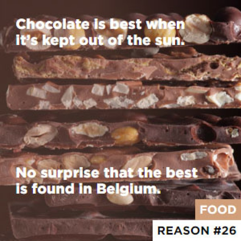 Chocolate is best when it's kept out of the sun. - No surprise that the best is found in Belgium.